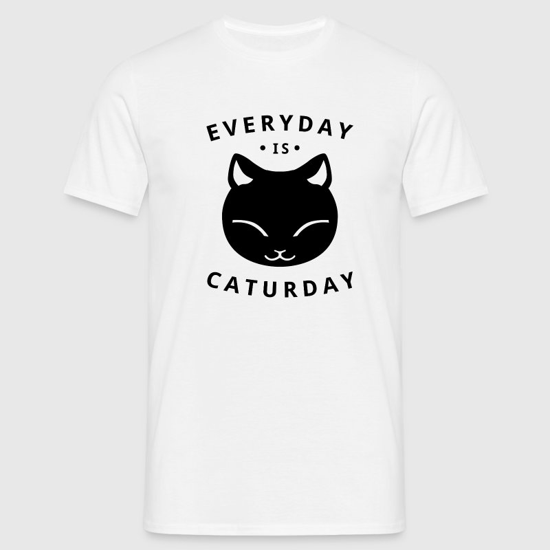 Everyday is caturday - happy cat - Männer T-Shirt