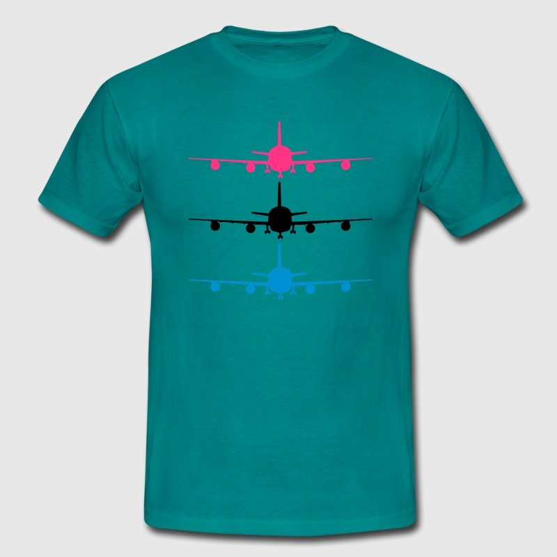Landing plane silhouette stand chassis design patt T-Shirts - Men's T-Shirt