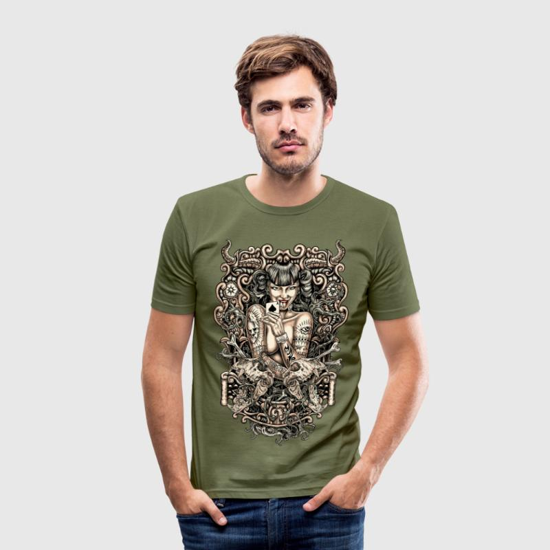 Evil Tattoo Girl T-Shirts - Männer Slim Fit T-Shirt