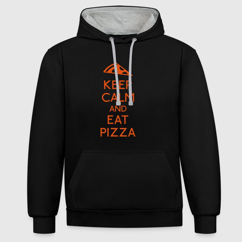 Keep Calm Pizza Pullover & Hoodies - Kontrast-Hoodie