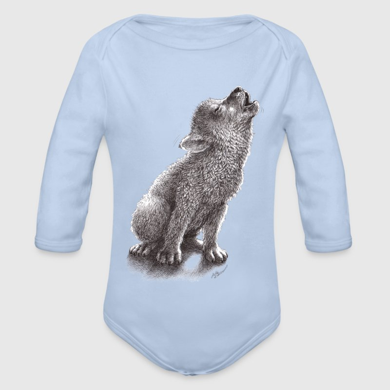Ulf - Young Howling Wolf Babybody - Økologisk langermet baby-body