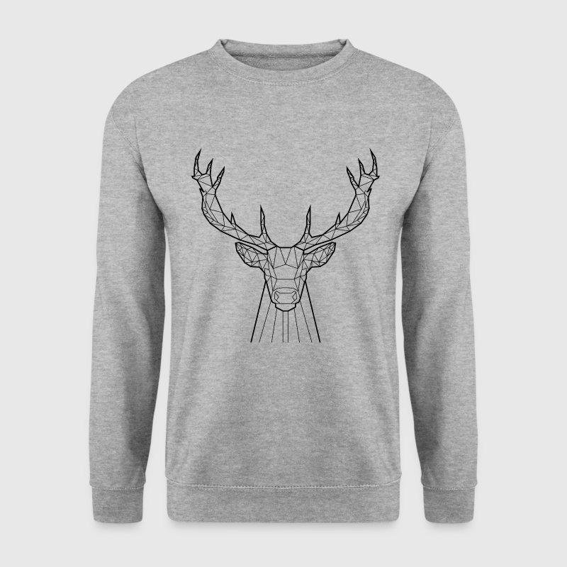 Sweat Cerf Noir - Animal Prism - Sweat-shirt Homme