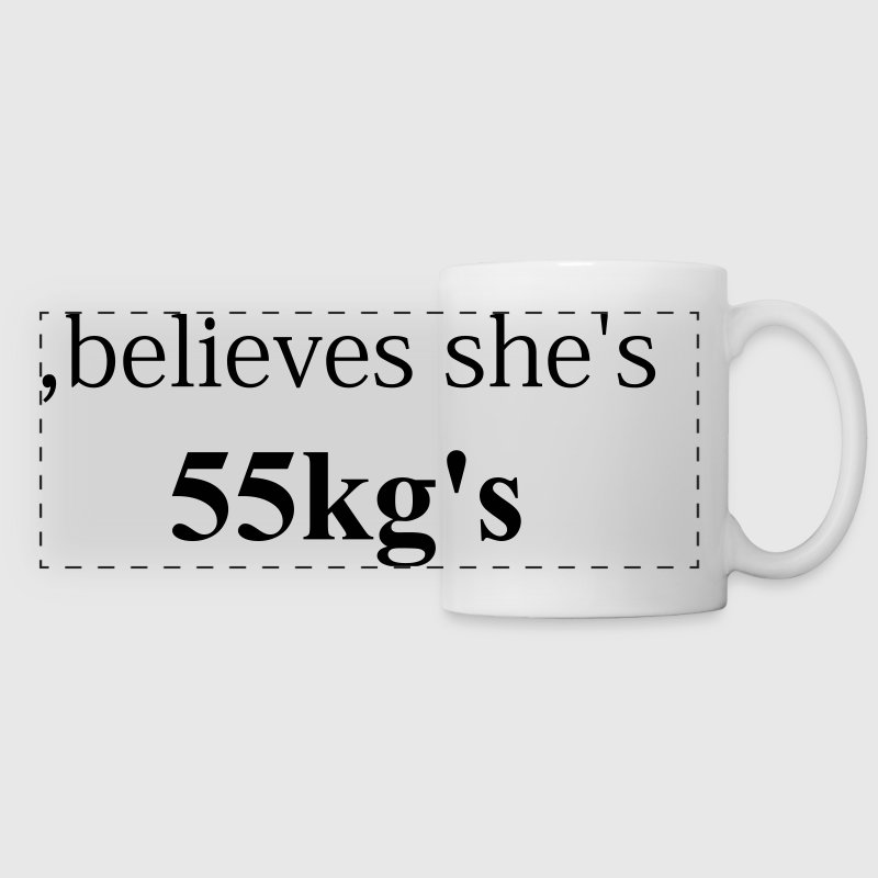 ,believes she is 55kg - Panoramic Mug