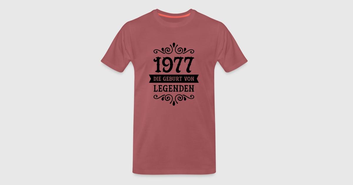 1977 die geburt von legenden t shirt spreadshirt. Black Bedroom Furniture Sets. Home Design Ideas