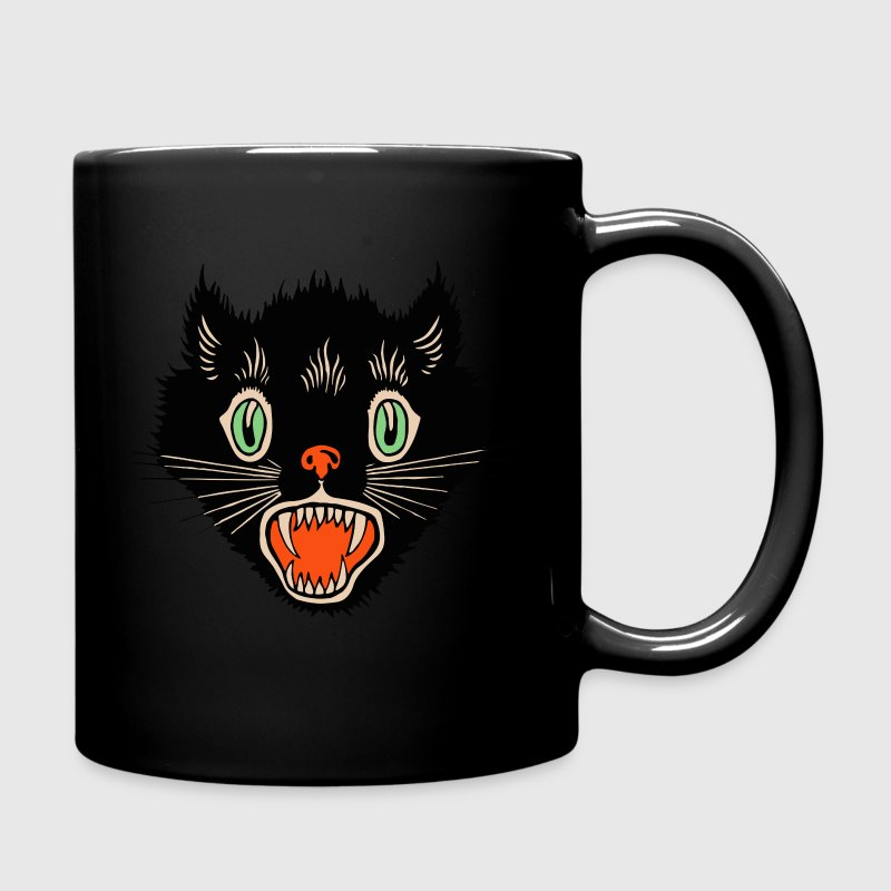 Vintage Halloween Scared Black Cat Mugs & Drinkware - Full Colour Mug