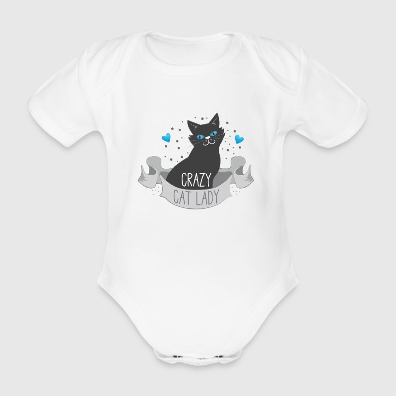 crazy cat lady banner Baby Bodysuits - Organic Short-sleeved Baby Bodysuit