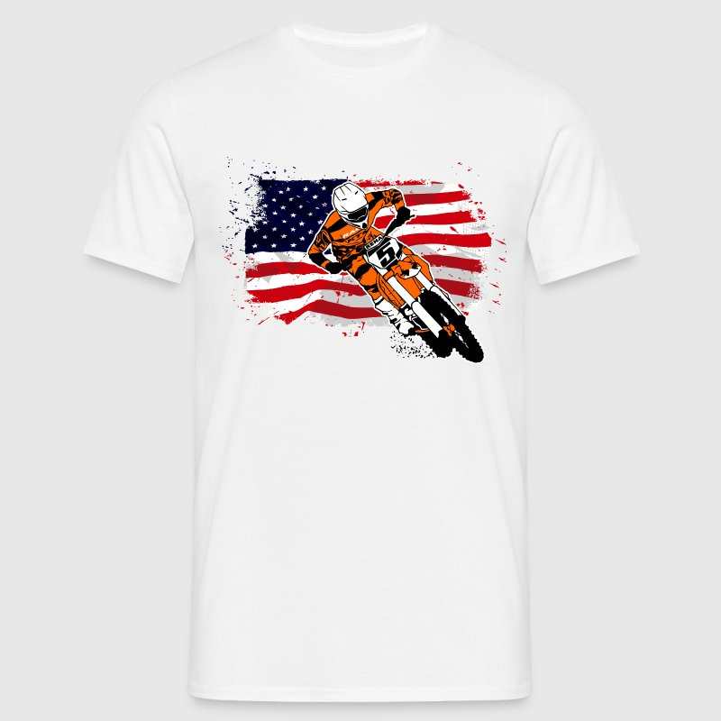 Moto Cross Racing - USA Flag Camisetas - Camiseta hombre
