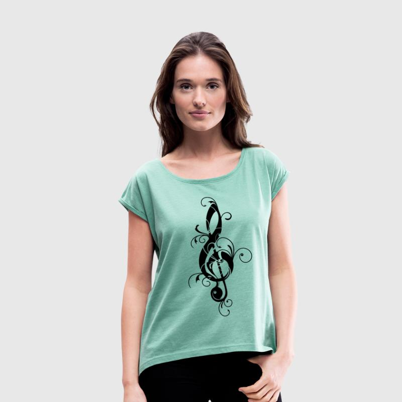 Clef, note, sheet, music, musical, notes, classic T-shirts - Dame T-shirt med rulleærmer