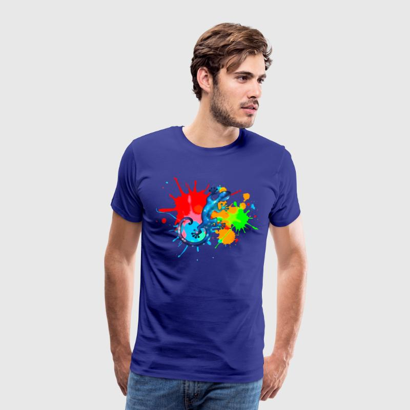 Space Gecko, Lizard, Color, Splash, Festival T-shirts - Mannen Premium T-shirt