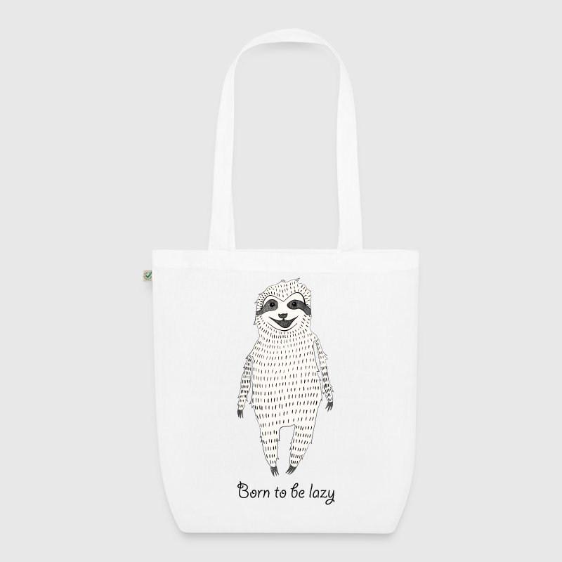 White Born to be lazy Bags & Backpacks - EarthPositive Tote Bag