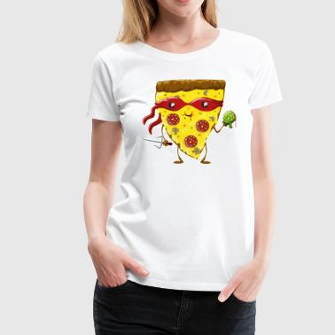 Blanc Ninja Pizza eats turtle Tabliers - T-shirt Premium Femme