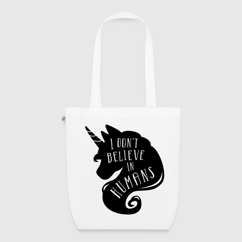 Magenta I don´t believe in humans - unicorn Bags & Backpacks - EarthPositive Tote Bag
