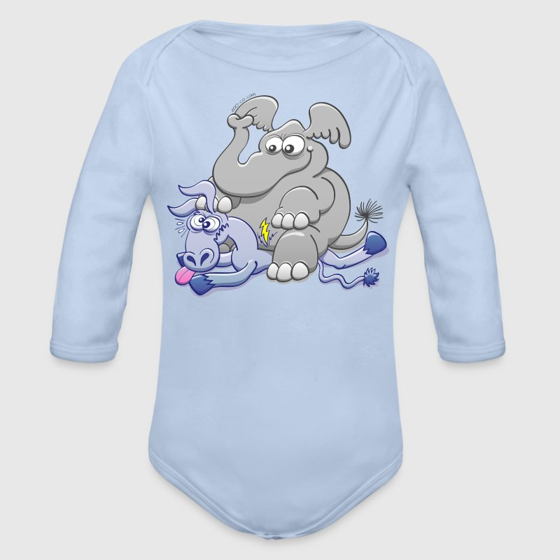 Elephant Sitting on Donkey and Squashing it  Baby Bodysuits - Organic Longsleeve Baby Bodysuit