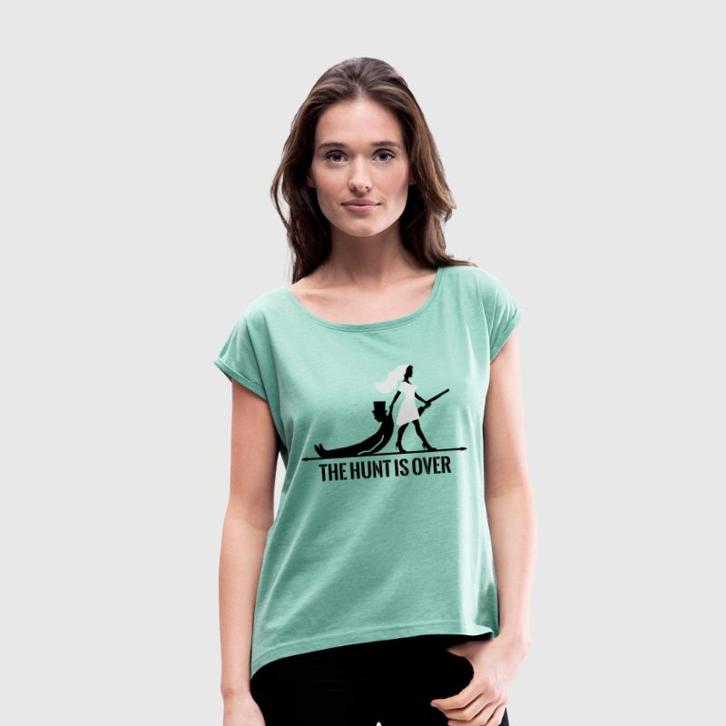 The hunt is over JGA Junggesellenabschied Party T-shirts - Dame T-shirt med rulleærmer