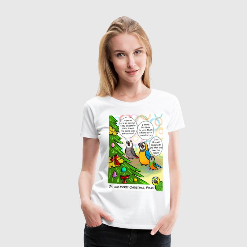 Parrots and Christmas tree - Women's Premium T-Shirt