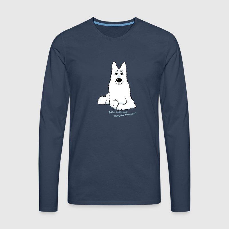 wei er sch ferhund liegend langarmshirt spreadshirt. Black Bedroom Furniture Sets. Home Design Ideas