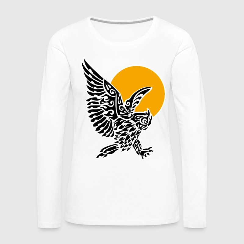 Great horned owl tribal tattoo - Women's Premium Longsleeve Shirt