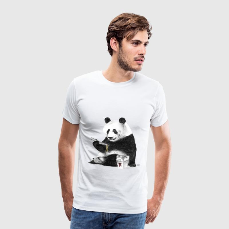 Panda Eating Noodles T-Shirt - Men's Premium T-Shirt
