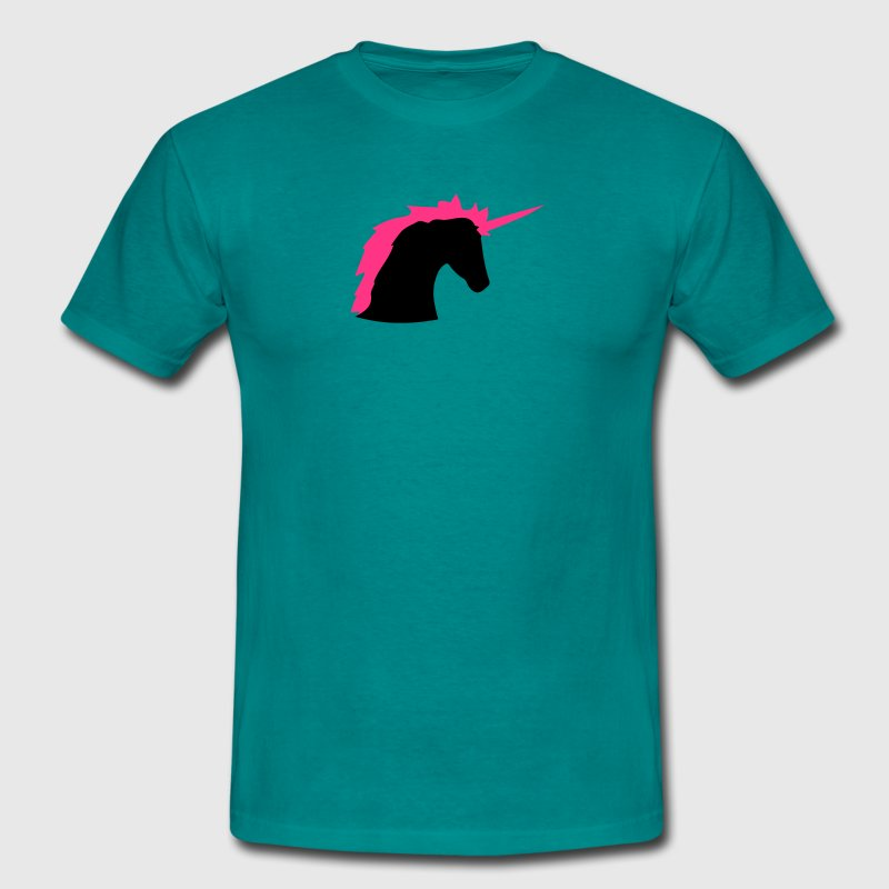 tête licorne rose cheval contour silhouette ombre  Tee shirts - T-shirt Homme