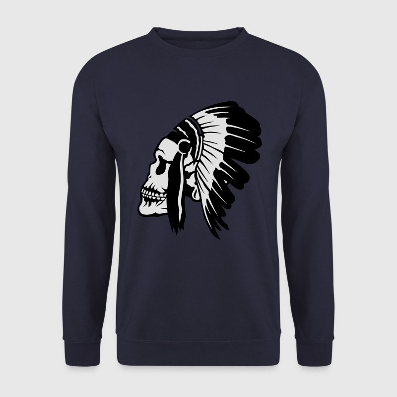 tete de mort coiffe indien indienne 1603 Sweat-shirts - Sweat-shirt Homme
