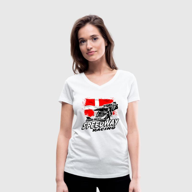 Speedway - Denmark Flag T-Shirts - Women's Organic V-Neck T-Shirt by Stanley & Stella