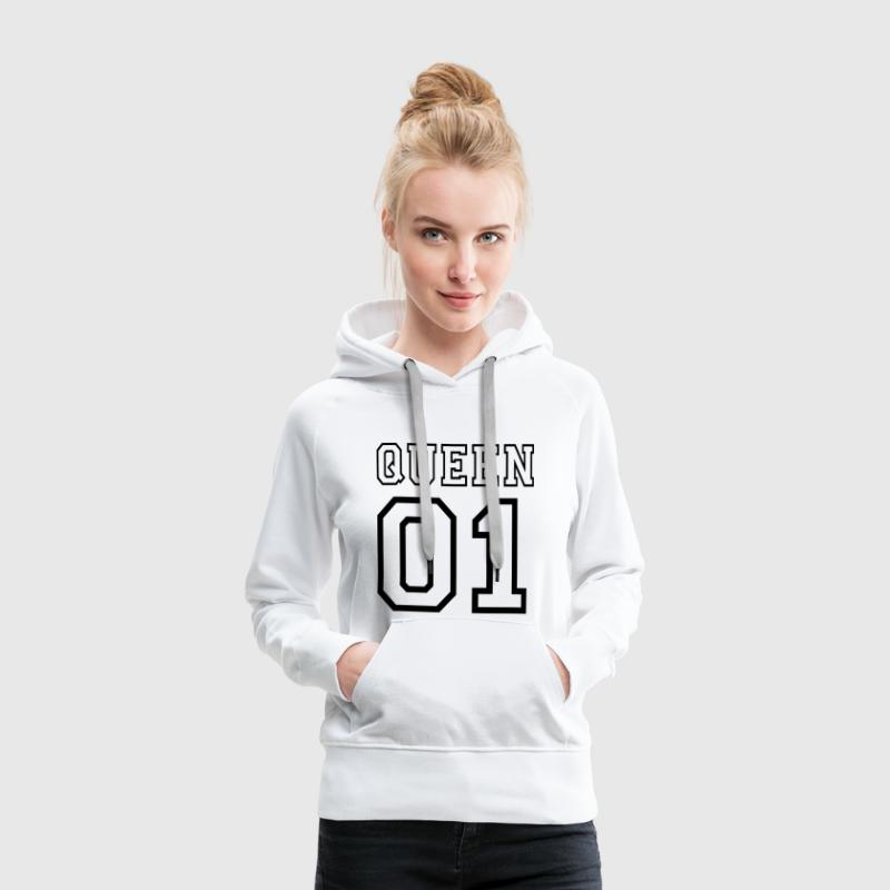 quePARTNERSHIRT - Queen 01 Sweat-shirts - Sweat-shirt à capuche Premium pour femmes