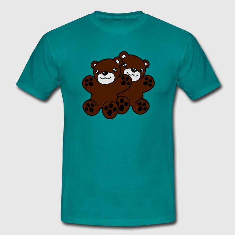 2 ours copains couple, équipe calins chats couple  Tee shirts - T-shirt Homme