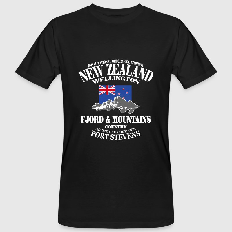 New Zealand - Mountains & Flag Tee shirts - T-shirt bio Homme
