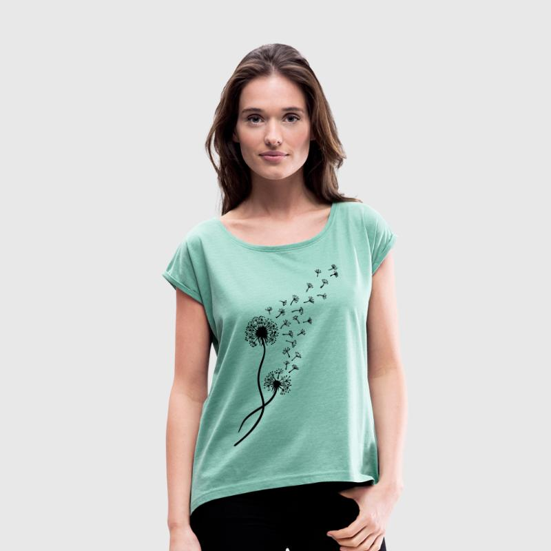 Dandelion blowball, flower, summer, garden, spring T-Shirts - Women's T-shirt with rolled up sleeves