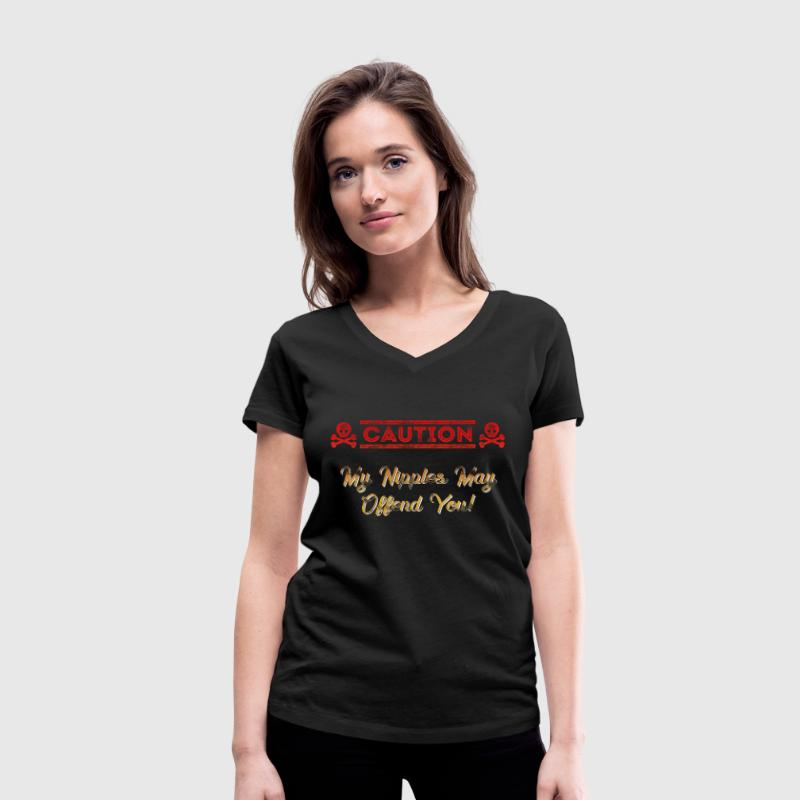 Caution Nipples Fire T-Shirts - Women's V-Neck T-Shirt