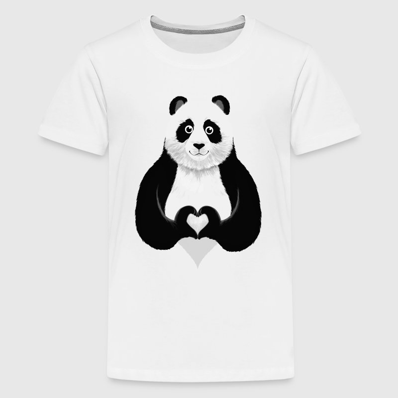 Cute Panda Heart Hand Sign Shirts - Teenage Premium T-Shirt
