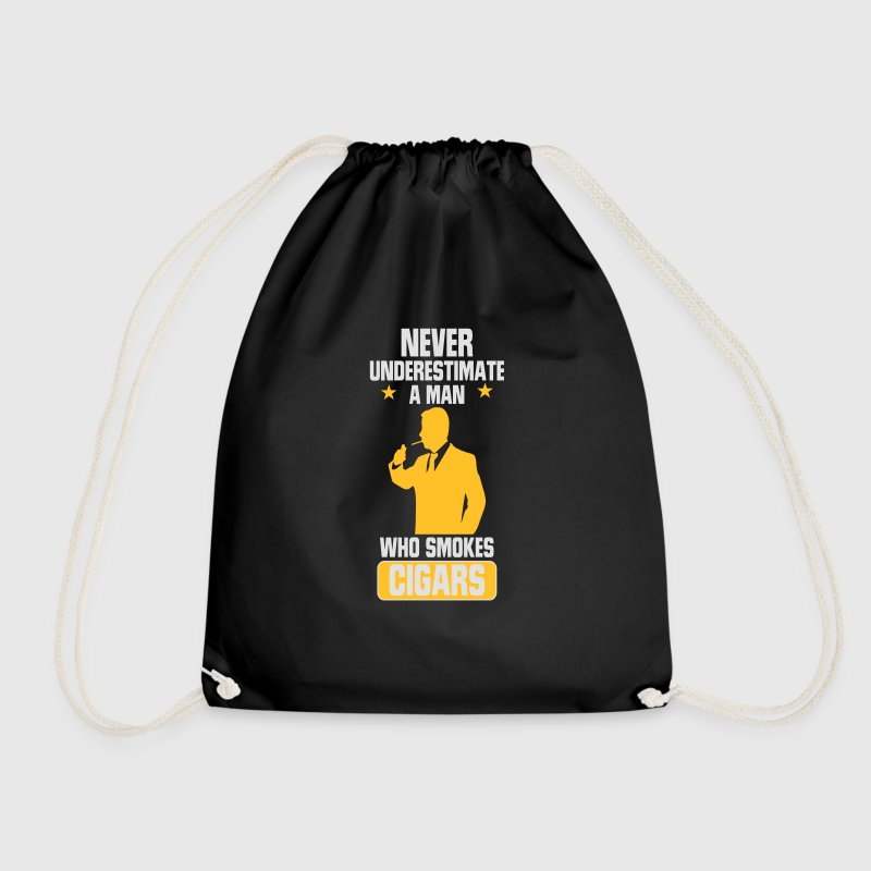 NEVER UNDERESTIMATE A MAN WITH A CIGAR Bags & Backpacks - Drawstring Bag