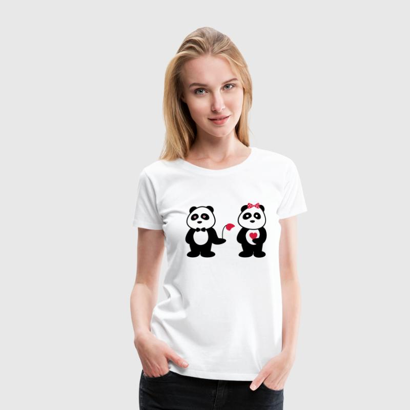 Panda in love  - Vrouwen Premium T-shirt
