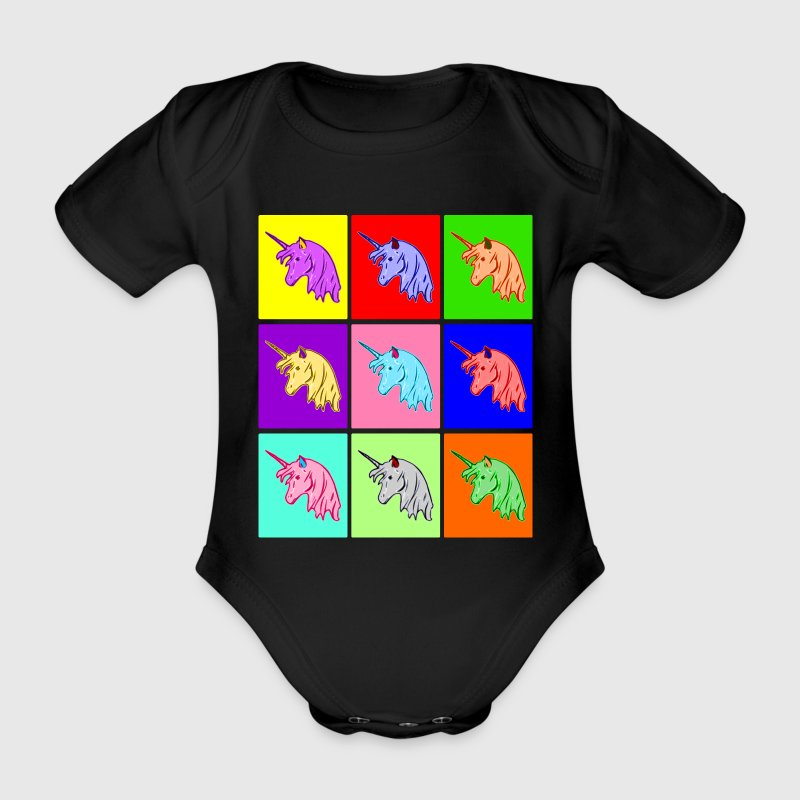Pop Art Einhorn, Pop Art Unicorn Baby Bodys - Baby Bio-Kurzarm-Body