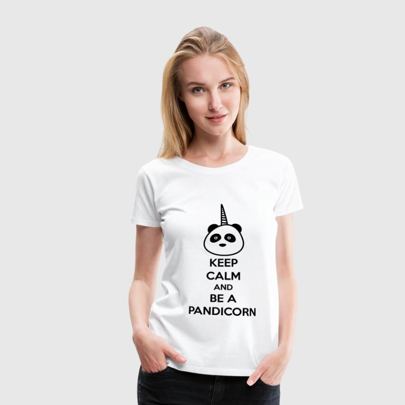 T-shirt Panda,keep calm and be a pandicorn - T-shirt Premium Femme
