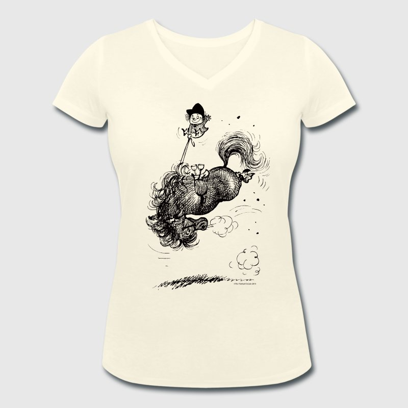 Thelwell Pony leap-frog - Women's Organic V-Neck T-Shirt by Stanley & Stella
