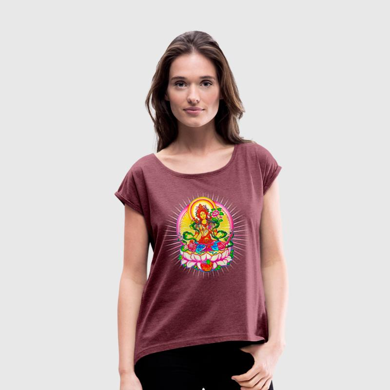 Tara - Tibet Buddhism, Lotus, Meditation, Yoga, Om - Women's T-shirt with rolled up sleeves