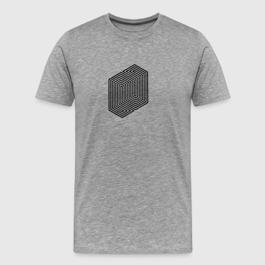 Optical Illusion (Impossible Minimal B & W Lines) Sports wear - Men's Premium T-Shirt
