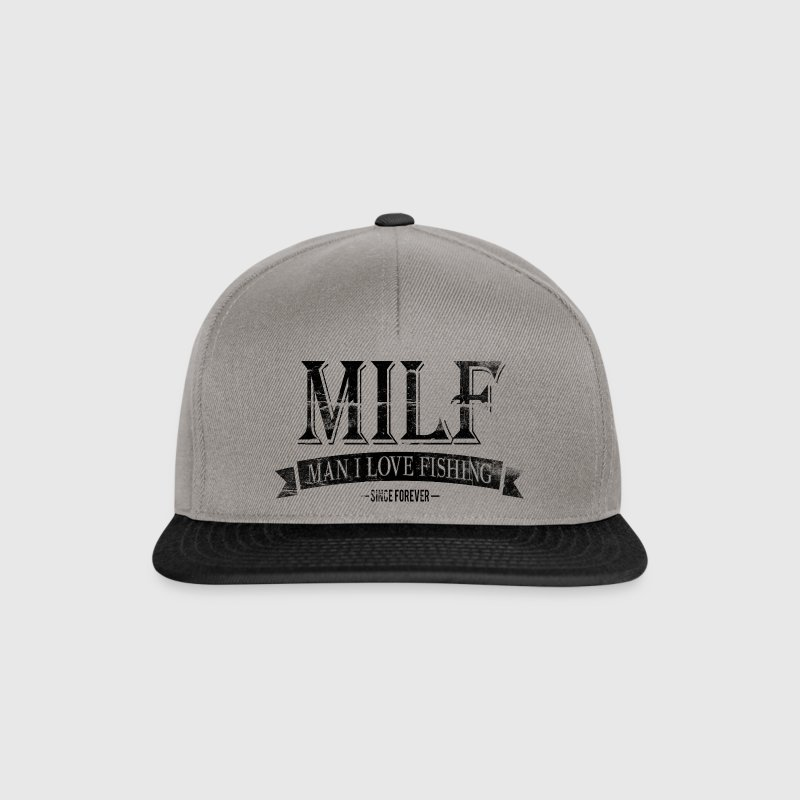 MILF / Man I Love Fishing / black grunge Caps & Hats - Snapback Cap