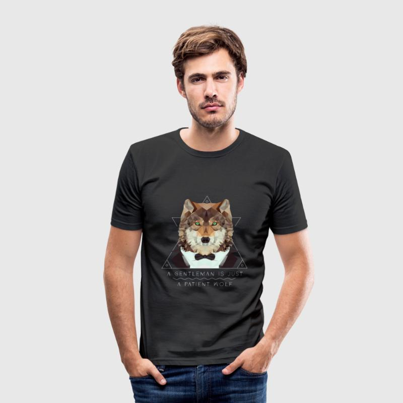 Low Poly Wolf Gentleman T-Shirts - Männer Slim Fit T-Shirt