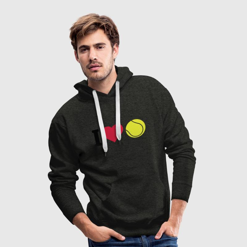 I love tennis j'aime le tennis Sweat-shirts - Sweat-shirt à capuche Premium pour hommes