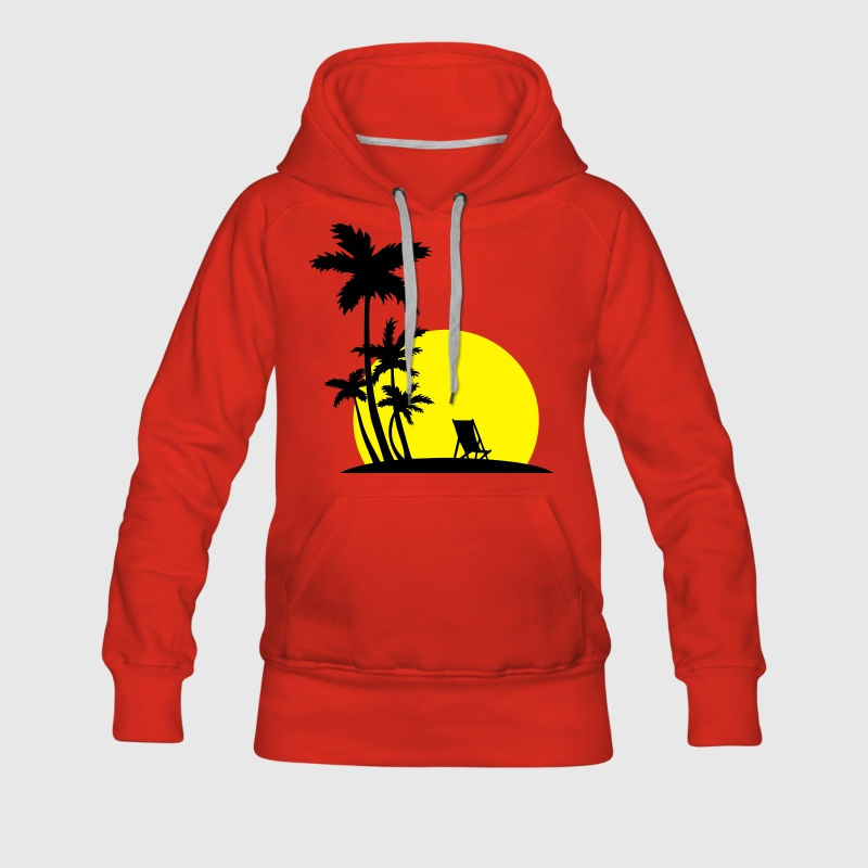 Paradise - Palm trees and sunset Sweatshirts - Dame Premium hættetrøje