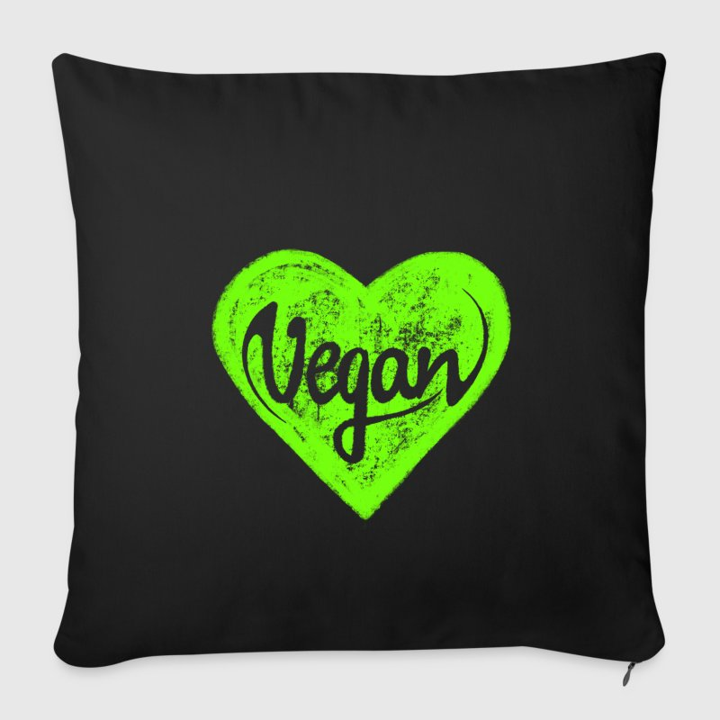 Vegan - a heart for animals, protection, nature,   Other - Sofa pillow cover 44 x 44 cm