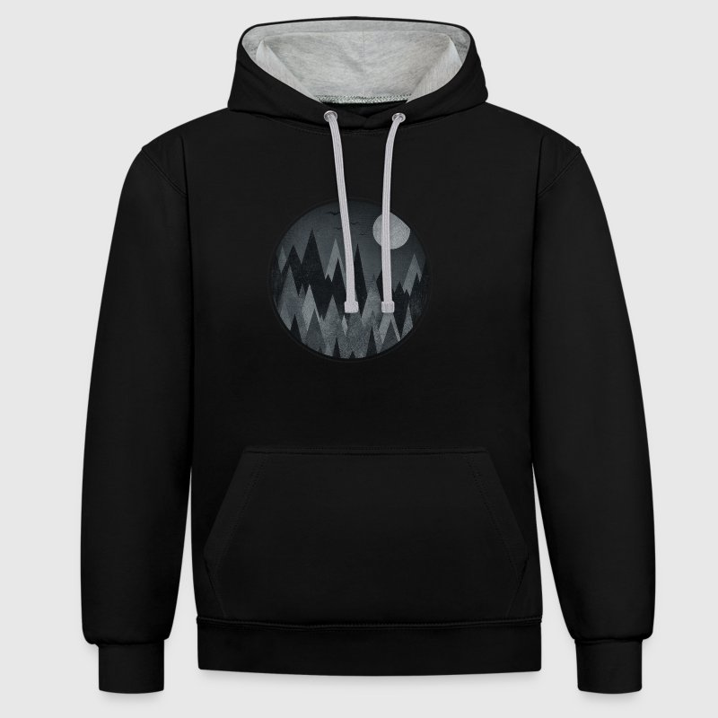 Black & White Triangles Abstract mountains design Hoodies & Sweatshirts - Contrast Colour Hoodie