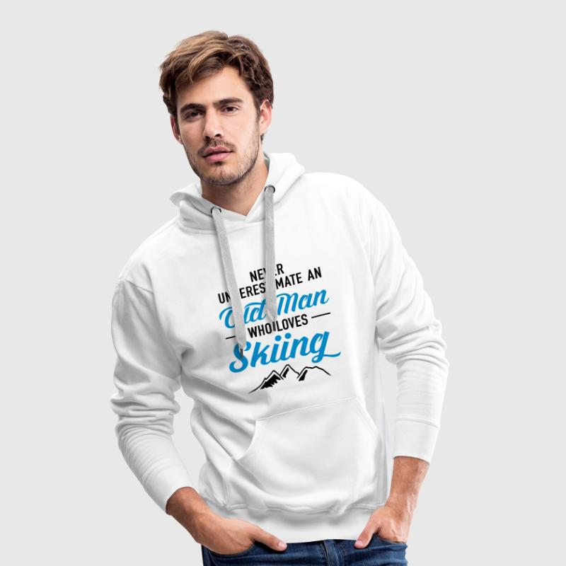 Never Underestimate An Old Man Who Loves Skiing Sweatshirts - Herre Premium hættetrøje