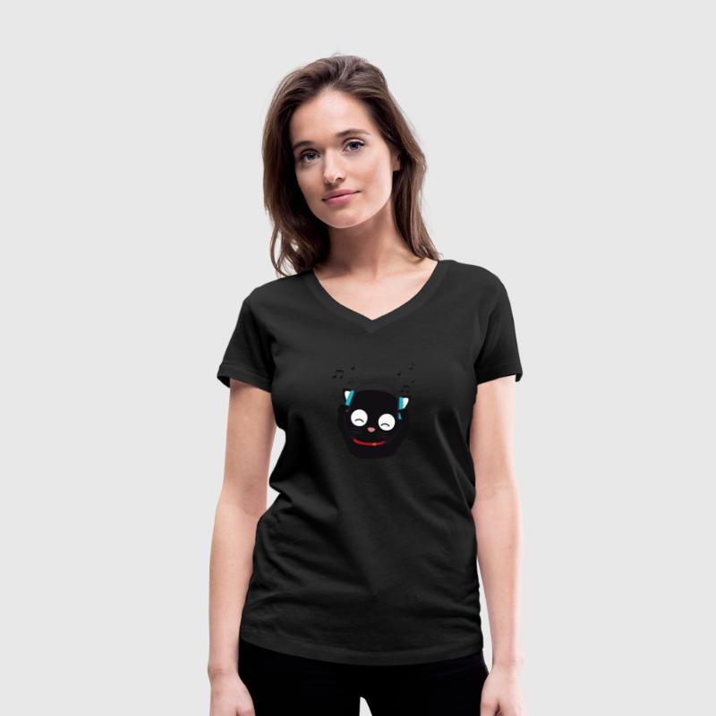 Music cat with headphones T-Shirts - Women's Organic V-Neck T-Shirt by Stanley & Stella