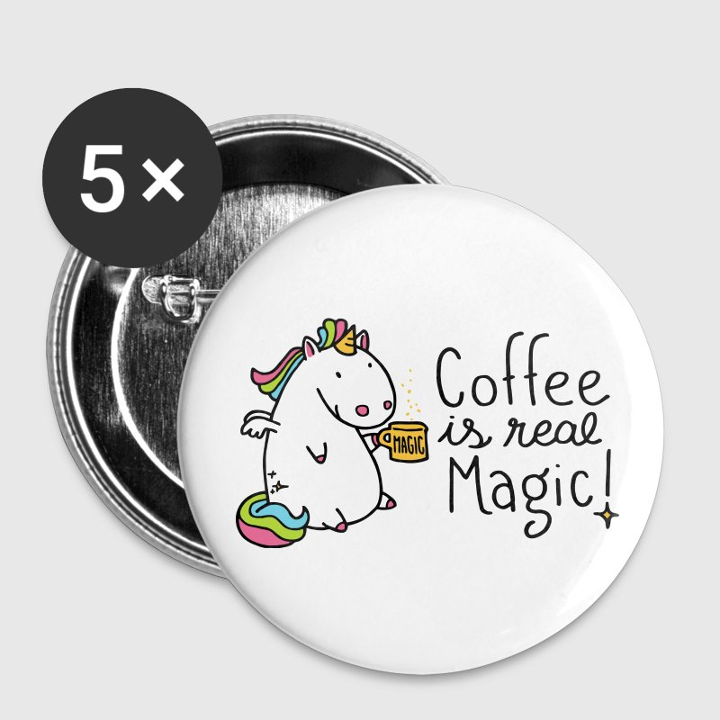 Einhorn Button - Coffee is real Magic - Buttons klein 25 mm