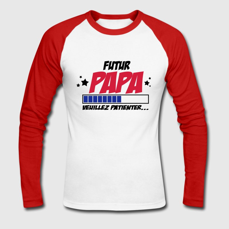 futur papa Manches longues - T-shirt baseball manches longues Homme