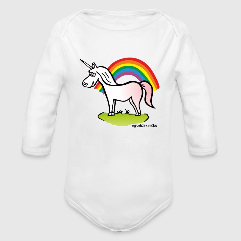 Einhorn und Regenbogen - Unicorn and Rainbow Baby Bodys - Baby Bio-Langarm-Body