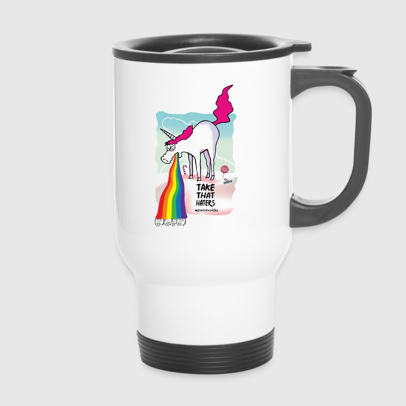Unicorn throwing up rainbow Mugs & Drinkware - Travel Mug